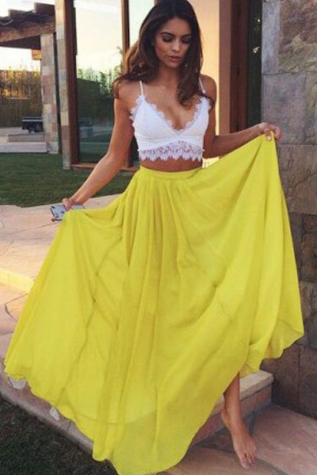 Elegant Two Piece Prom/Evening Dress Yellow Floor-Length Chiffon Lace
