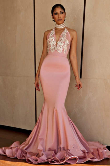 Pink Mermaid Sexy Prom Dress,Beaded Halter Evening Dress