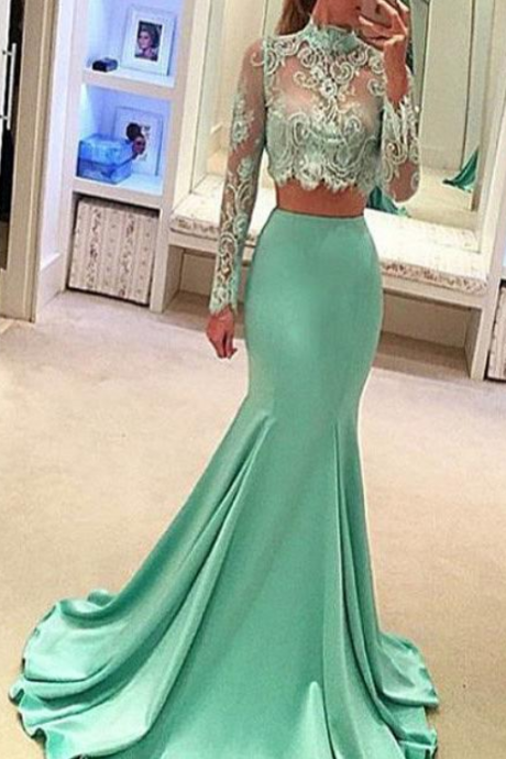Fabulous Tulle & Satin High Collar Neckline Two-piece Mermaid Evening Dresses With Lace Appliques