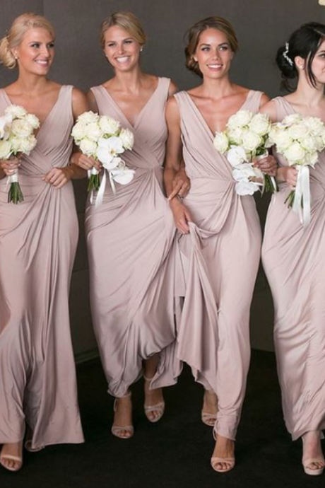 Chiffon Bridesmaid Dress,V-Neck Bridesmaid Dress, Floor Length Bridesmaid Dress