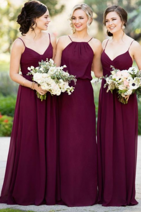 Chiffon Bridesmaid Dress,Spaghetti Straps Bridesmaid Dress, Floor Length Bridesmaid Dress