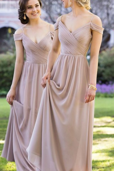 Chiffon Bridesmaid Dress,Spaghetti Straps Bridesmaid Dress,Off the Shoulder Dress