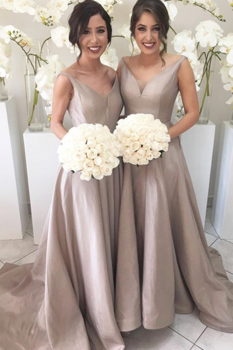 Simple V-neck Cheap Bridesmaid Gowns,Handmade Dresses,Elegant Long Bridesmaid Dresses,Elegant Evening Dress,Party Dress,Wedding Guest Prom Gowns, Formal Occasion Dresses,Formal Dress