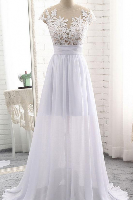 WHITE ROUND NECK LACE LONG PROM DRESS, WHITE EVENING DRESS, WHITE WEDDING DRESS, WEDDING DRESS,CUSTOM MADE ,2018 NEW FASHION