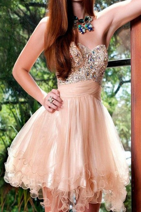 Gown Rose Pink Homecoming Dresses Zippers Sleeveless Beaded Sweetheart Neckline Mini Homecoming Dress