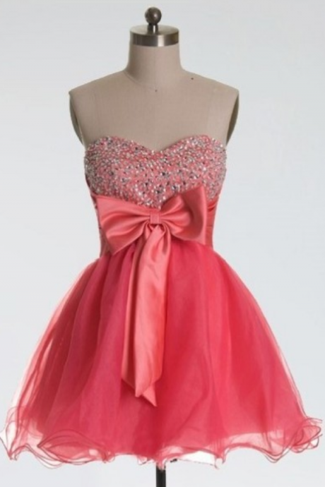 A lines Coral Homecoming Dresses Hollow Sleeveless Beaded Sweetheart Neckline Above Knee Homecoming Dress