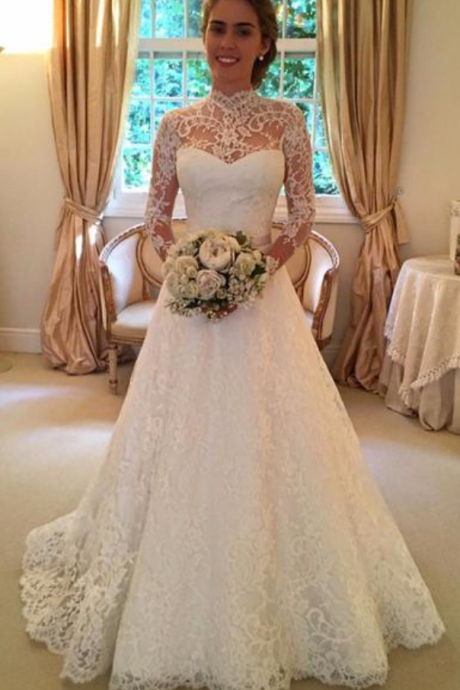 Wedding Dresses,Vintage Wedding Dresses,Long Sleeves Wedding Dresses,Lace Wedding Dresses,Sheer Wedding Dresses