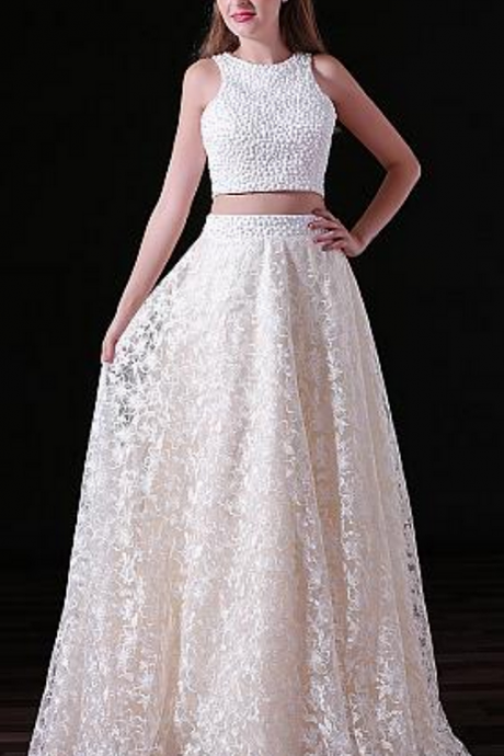 Charming Lace Jewel Neckline Floor-length Two-piece A-line Prom Dresses With Beadings,,Evening Gowns