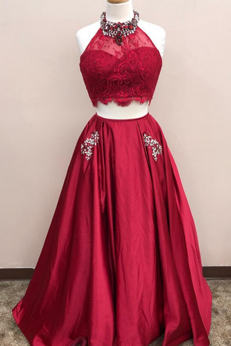 Dark Red Two Pieces Prom Dress, Formal Prom Gown, With Beading evening dresses, Quinceanera Dresses
