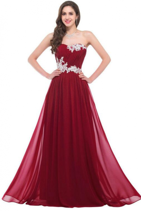 Strapless Burgundy Prom Dresses,Floor Length Chiffon Prom Dress,Lace Prom Dress,Long Prom Dress