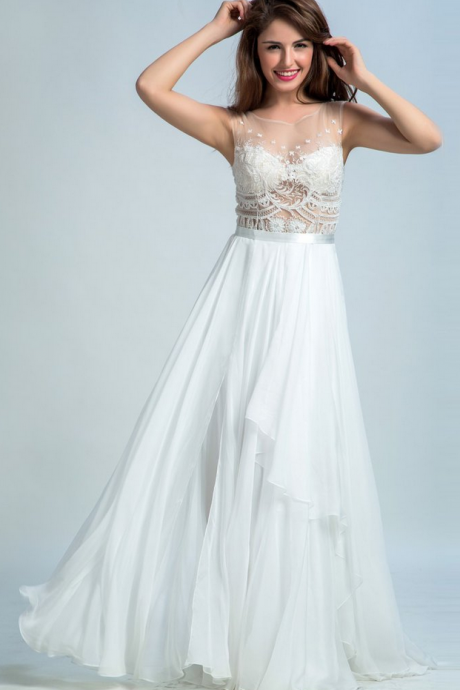 PRETTY PROM DRESSES LONG, A-LINE SCOOP FLOOR-LENGTH CHIFFON WHITE PROM DRESS/EVENING DRESS