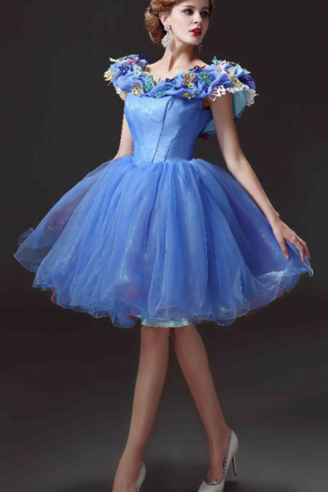Cheap homecoming dresses, New Arrival Short Homecoming Dresses Movie Deluxe Adult Cinderella Party Gowns Applique Blue Cinderella vestido de festa
