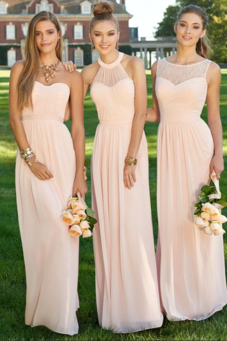 pink bridesmaid dresses, Mismatched prom dresses, Chiffon bridesmaid dresses, long bridesmaid dresses, lace bridesmaid dresses