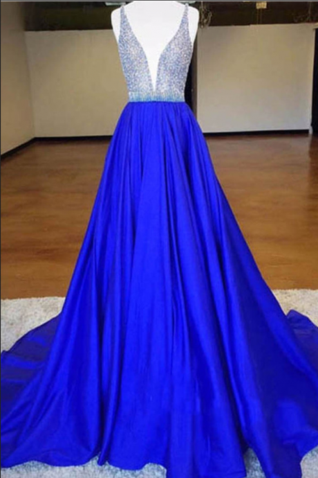 Sexy Deep V-neck Long Prom Dresses,Handmade Evening Dresses,Simple Cheap Beading Prom Gowns,A-line Party Dresses
