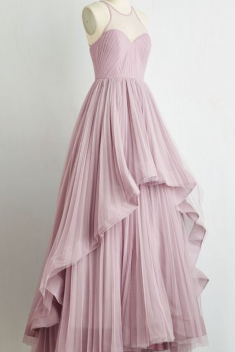 Charming Prom Dress,Chiffon Prom Dress,A-Line Prom Dress,Pleat Evening Dress