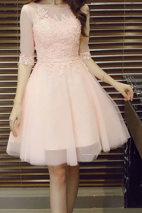 New Arrival Pink Prom Dress,Short Sleeve Prom Dress,Short Prom Dress,Cute Prom Gown,Tulle Homecoming Dress with Appliques