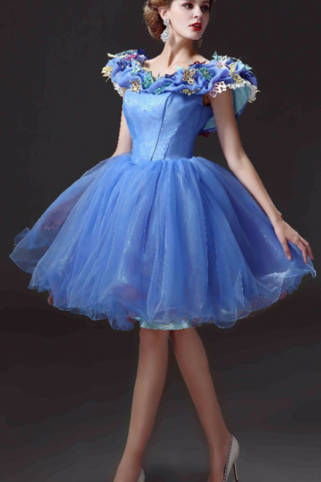 Cheap homecoming dresses,New Arrival Short Homecoming Dresses Movie Deluxe Adult Cinderella Party Gowns Applique Blue Cinderella vestido de festa