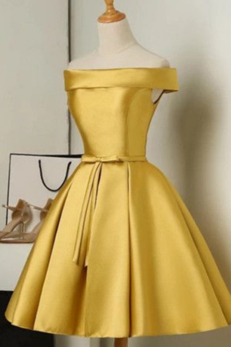 Gold Satin Off-The-Shoulder Short Ruffled Skater Homecoming Dress Featuring Bow Accent Belt and Lace-Up Back