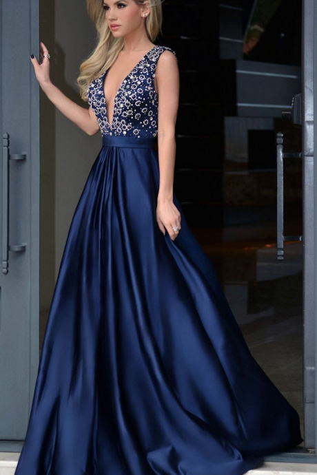 Navy Prom Dresses Deep V Neckline, Prom Dress, Evening Dresses, Formal Dresses, Graduation Party Dresses, Banquet Gown