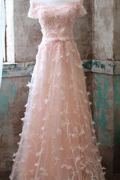 Blush Pink Lace Appliqués Off-The-Shoulder Plunge V Floor Length Tulle A-Line Formal Dress Featuring Lace-Up Back, Prom Dress