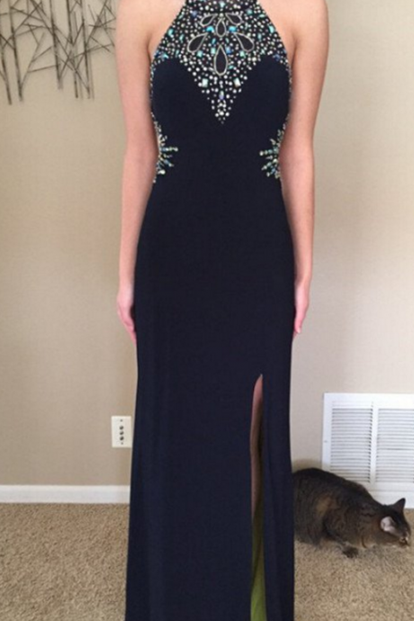 Sexy Prom Dress,Black Sleeveless Prom Dresses,Long Prom Dresses,Formal Evening Party Dress,Open Back Formal Gowns