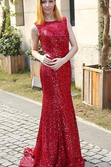 Wholesale - Sparkling sequined long mermaid evening dresses new jewel neck applique zipper back trumpet prom formal gowns