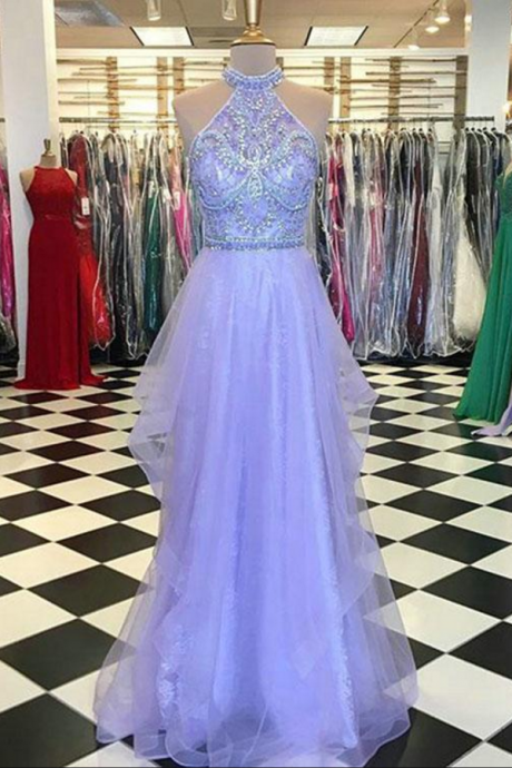 Halter Prom Dress, Sexy Sleeveless Evening Dress, A Line Tulle Prom Dresses