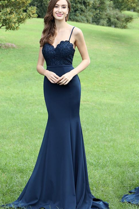 Straps Mermaid Navy Blue Long Prom Dress,Prom Dress,Sexy Elegant Prom Dresses,Sexy Sleeveless Mermaid Evening Dress