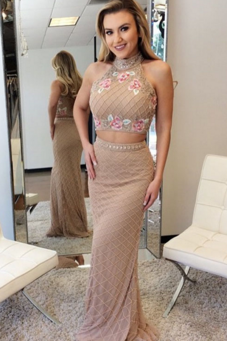 Two Piece Mermaid Beads Champagne Long Prom Dress