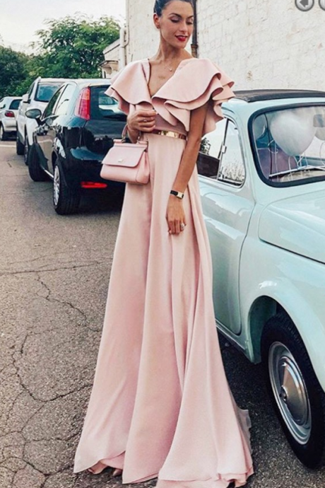 A-Line V-Neck Pink Chiffon Long Evening Prom Dress with Ruffles Belt