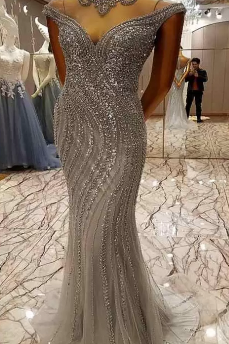 Luxurious Mermaid Prom Dresses Jewel Cap Sleeve Quinceanera Dresses Lace Beaded Crystals Illusion Back With Zipper Latest Evening Gowns