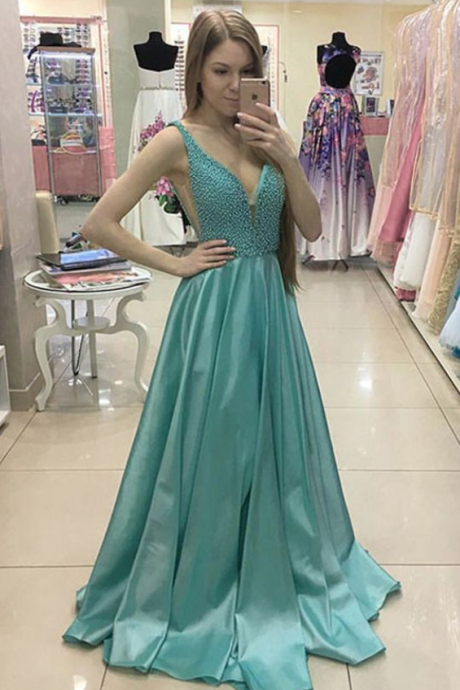 A-Line, Deep V-Neck, Sweep, Train, Green, Satin, Prom Dress with Beading