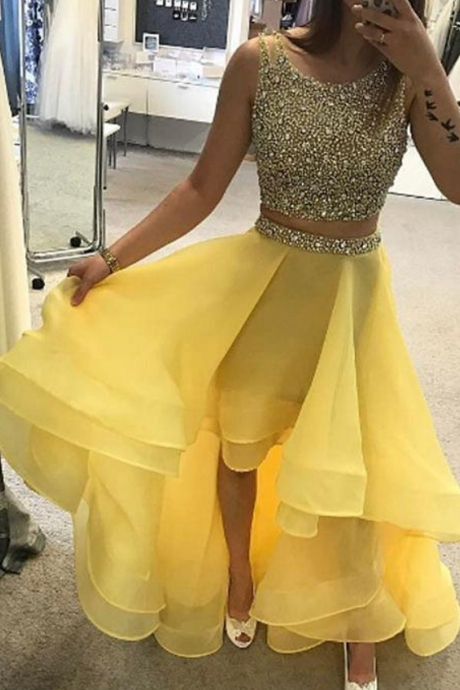 New Arrival Two Pieces Beading Sequined Prom Dress,High Low Prom Dress
