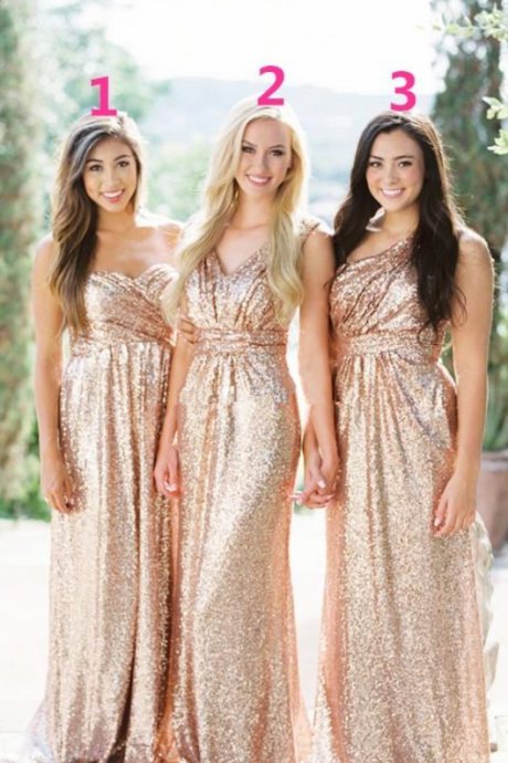 Cheap Gold Sequins Bridesmaid Dresses Sweetheart Neck Floor Length Maxi Style Maid Of Honor Wedding Guest Gown