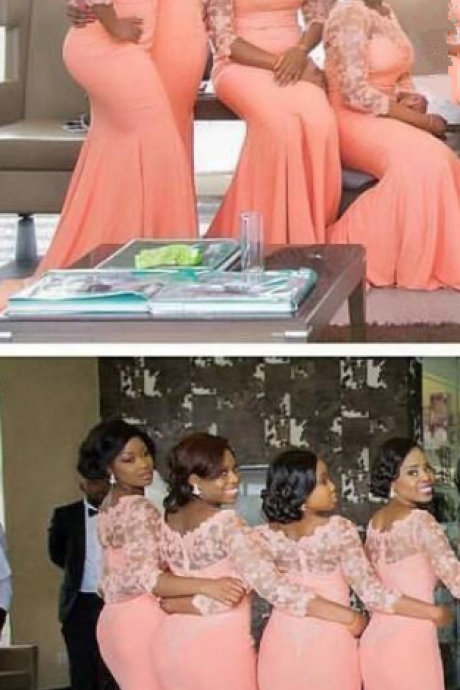 Light Orange Plus Size Bridesmaid Dresses lace Illusion Long Sleeve Mermaid Maid Of Honor Gowns Chiffon Wedding Guest Dresses