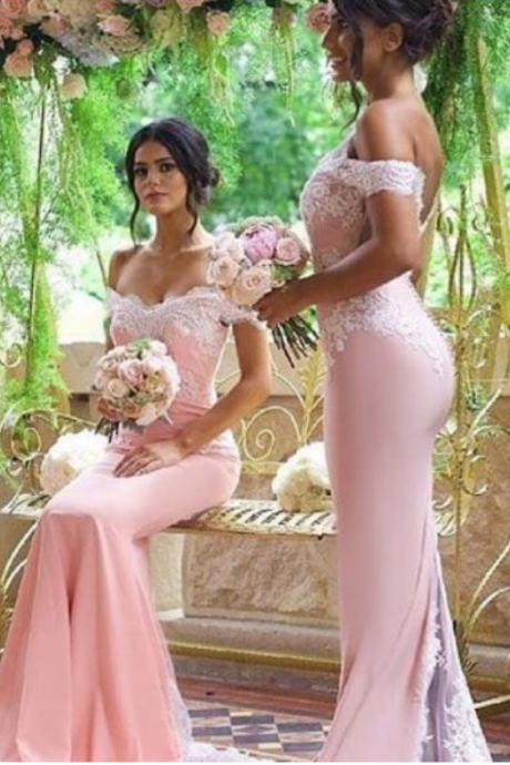 Baby Pink Bridesmaid Dresses Off The Shoulder Appliques Mermaid Low Backless Satin Formal Maid Of Honore Wedding Guest Gowns Cheap