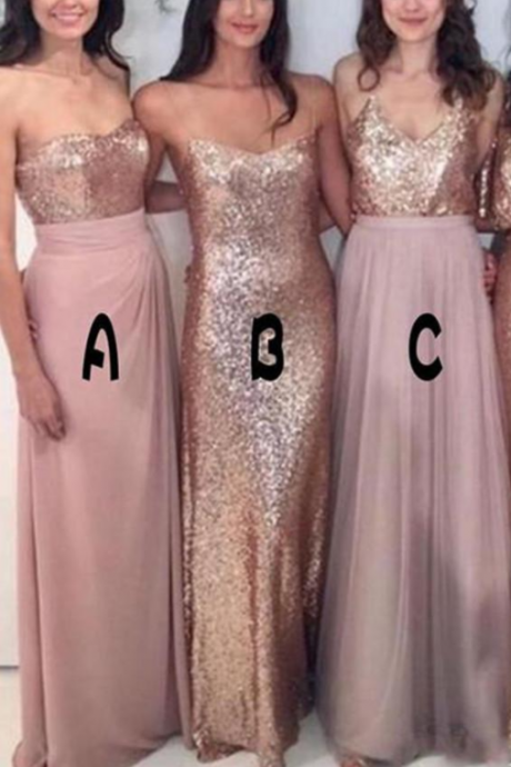 New Bridesmaid Dresses Mix-and-Match Blush Pink Chiffon with Rose Gold Sequined Fabric Floor Length Mixture Styles Country Party Gowns