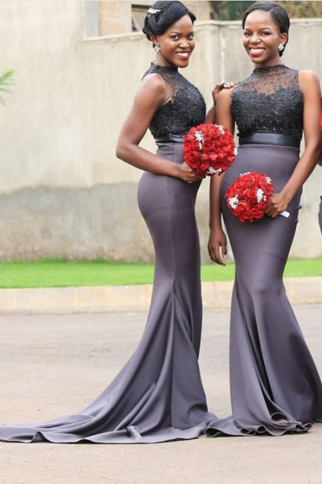 New Gray African Nigerian Mermaid Bridesmaid Dresses Jewel Neck Lace Applique Sequined Beadings Maid Of Honor Dress Prom Dress Evening Gowns