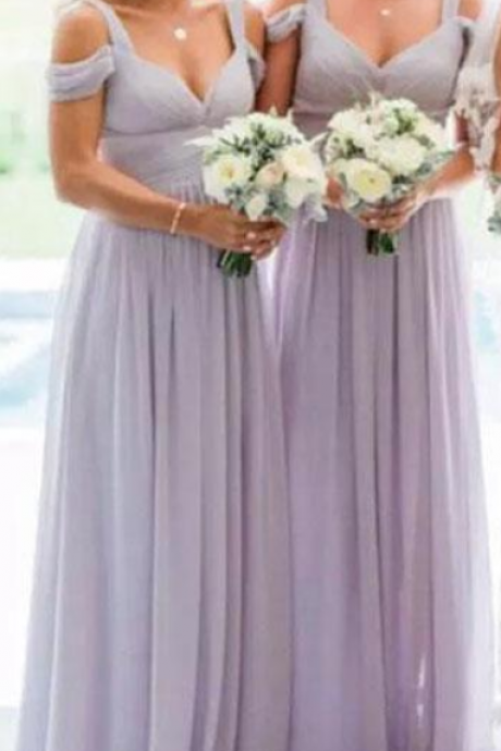 Stunning Lavender Chiffon Bridesmaid Dresses Elegant Off Shoulder Straps Ruched Party Dress A Line Country Wedding Guest Dresses Custom Made