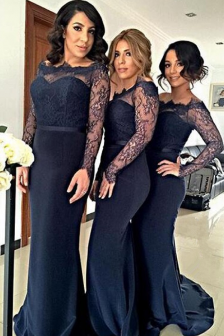Bridesmaid Dresses,Mermaid Off-The-Shoulder Long Sleeves Long Bridesmaid Dress With Lace