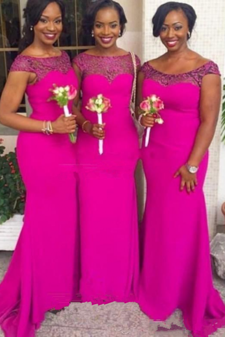Plus Size Cheap Mermaid Bridesmaid Dresses Fuschia Chiffon Beaded Maid of the Honor Wedding Dresses Cap Sleeves Long Bridesmaids Gowns