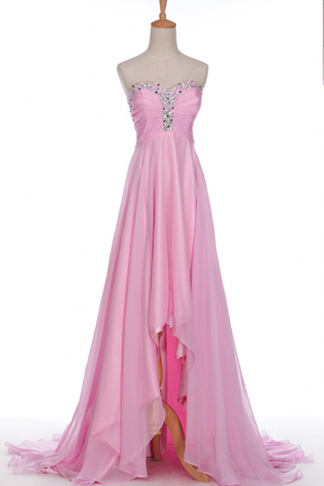 Luxury High Low Pink Bridesmaid Dresses,High Low Zipper Sweetheart A Line Bridesmaid Dresses, Sexy Pink Crystal Beaded Bridal Dresses
