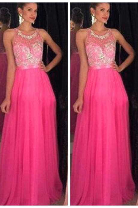 Fast Shipping Prom Dress O-Neck A Line Tulle Chiffon Tank Sleeveless Formal Evening Party Graduation Long Evening Gowns