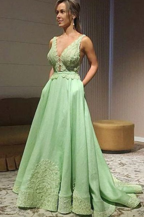 A-Line V-Neck Sweep Train Mint Satin Prom Dress with Appliques Pockets