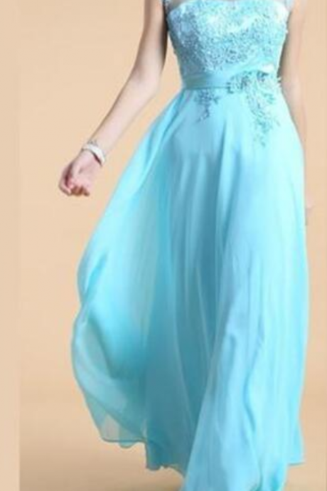 Elegant Chiffon Long Blue Prom Dress,Party Gowns, Blue Prom Dresses, Evening Gowns