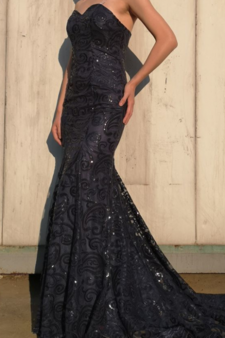 Beautiful Mermaid Sweetheart Sequins Long Prom Dress Lace Evening Dress