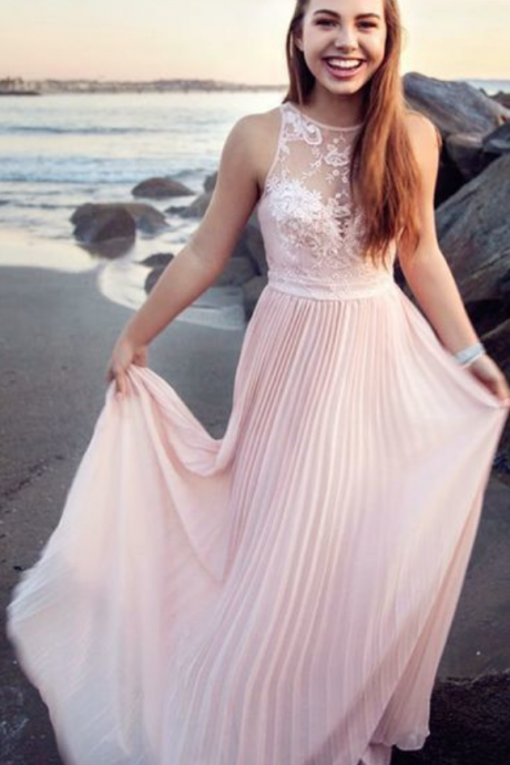 A-Line Round Neck Long Pink Prom Dress with Ruffles Appliques