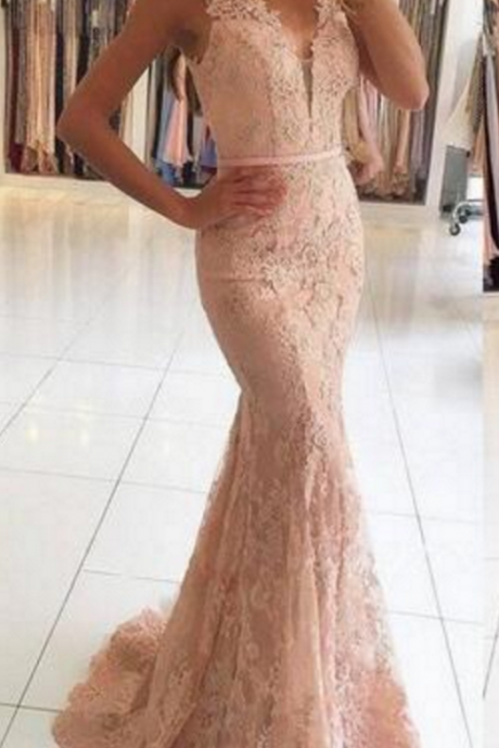 Pink Evening Dress, V Neck Evening Dress, Lace Applique Evening Dress, Mermaid Evening Dress, Elegant Evening Dress, Evening Dresses