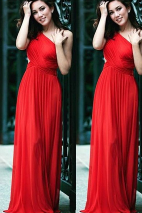 Custom Made ,Red One- Shoulder, Pleated evening ,A-Line Prom Dress