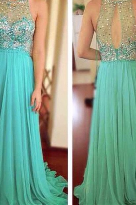 Blue Prom Dresses,A-Line Prom Dress,Beaded Prom Dress,Simple Prom Dress,Chiffon Prom Dress,Simple Evening Gowns,Cheap Party Dress,Elegant Prom Dresses,Beading Formal Gowns For Teens